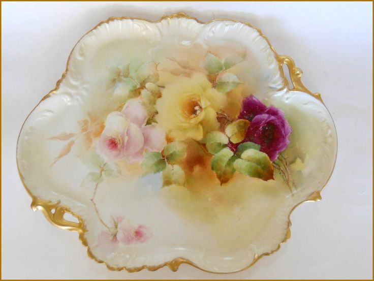 LOOK AT MY OTHER AUCTIONS FOR MORE ANTIQUE HAND PAINTED PORCELAIN On auction is a gorgeous Antique Limoges Porcela in Victorian Handled Serving Tray Hand Painted and signed by late 19th Century Maste