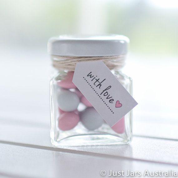 144 mini 50ml square glass jars White lids by JustJarsAustralia
