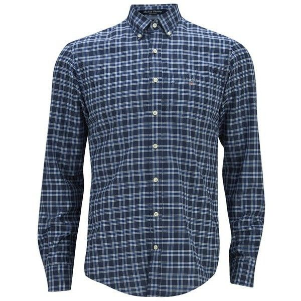 GANT Men's Chambray Check Shirt ($150) ❤ liked on Polyvore featuring mens, men's clothing, men's shirts, men's casual shirts and blue