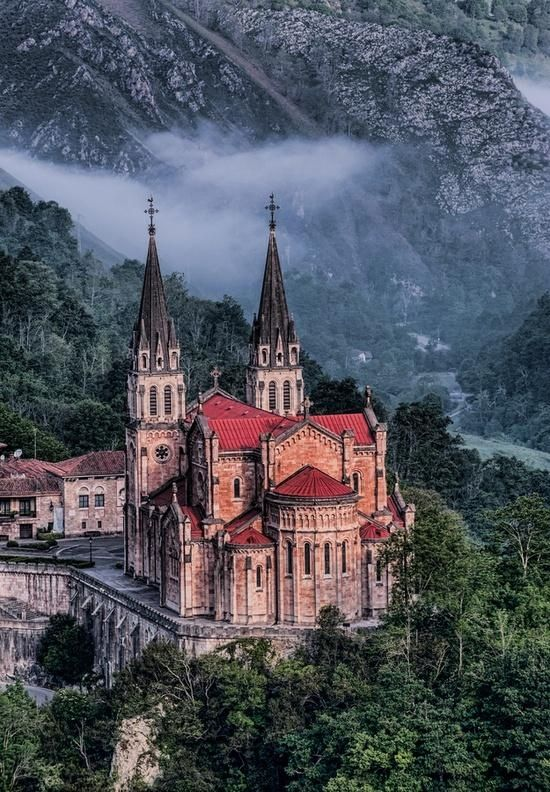 "Our Lady of Covadonga, Covadonga, Asturias province, northwestern Spain. ""Spain is a country of contrasts: The sanctuary of Covadonga in Asturias is tucked away in an stunning setting in a narrow valley surrounded by fairy-tale mountains and glacial lakes."""