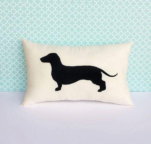 Dachshund Dog Silhouette Throw Pillow by LittleLauraLouCrafts
