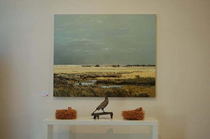 John de Smidt landscape painting, Cornelia Stoop resin Starling, vetiver root nest bowls