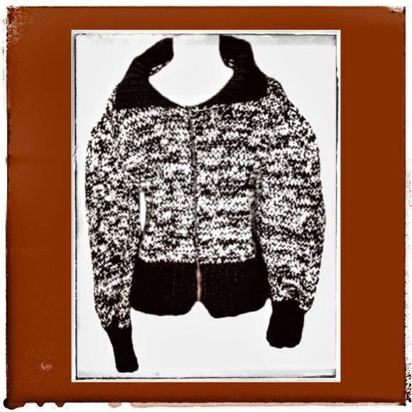 Vintage Hand Knit Brown & Beige Zip-Up Sweater ft Princess Poof Shoulders Women's Size Medium