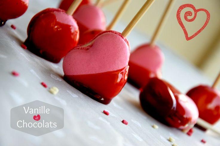 Macarons pomme d'amour - Vanille et Chocolat