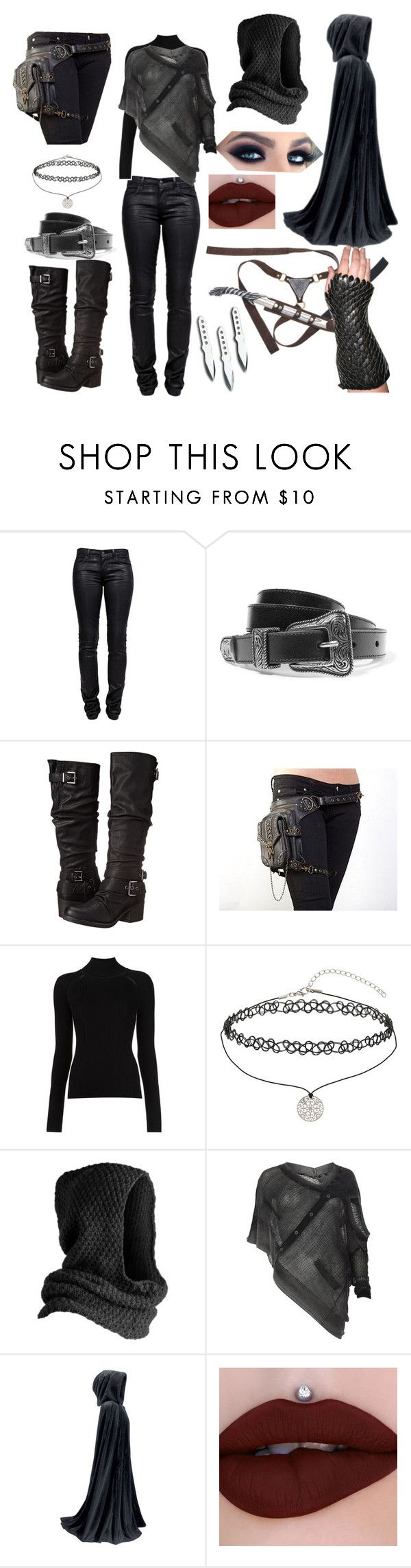"""LOTR Female Assassin Outfit #2"" by e-sekovanikj ❤ liked on Polyvore featuring J Brand, Yves Saint Laurent, Carlos by Carlos Santana, Misha Nonoo, Miss Selfridge, Pieces and AllSaints"