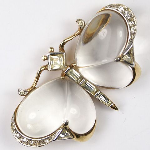 Trifari 'Alfred Philippe' Jelly Belly Butterfly Pin 1949 Patent