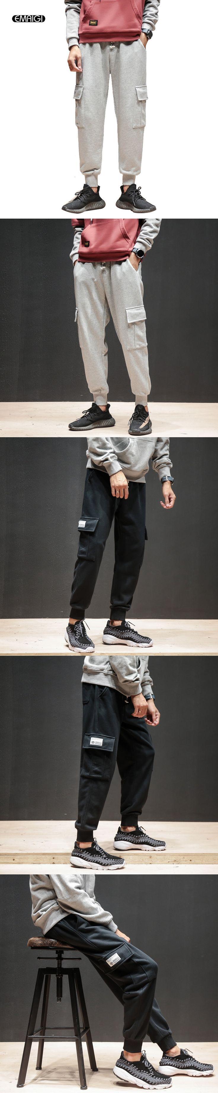 Men New Street Fashion Casual Cargo Pants Jogger Loose Cotton Harem Trousers Male Sweatpants