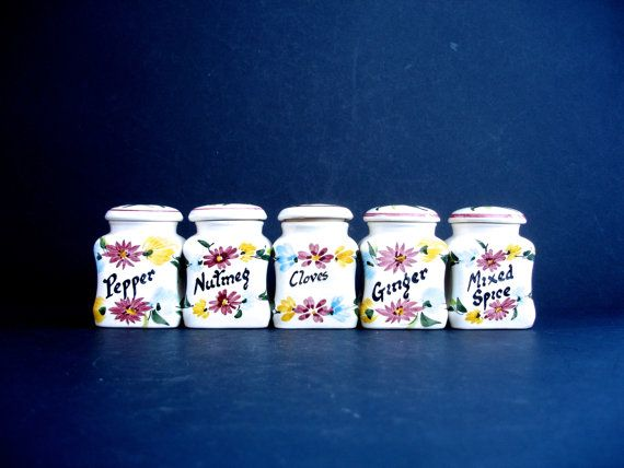 5 Vintage Toni Raymond Spice Jars Vintage Spice Set by FillyGumbo