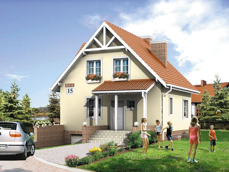 Majka 2 (93,7 m2) to projekt domu z użytkowym poddaszem i garażem zlokalizowanym w piwnicy. Pełna prezentacja projektu dostępna jest na stronie:  https://www.domywstylu.pl/projekt-domu-majka_2.php. #projekty #domy #projekty gotowe #projekty domów #domywstylu #mtmstyl #style #design #home #houses #architektura