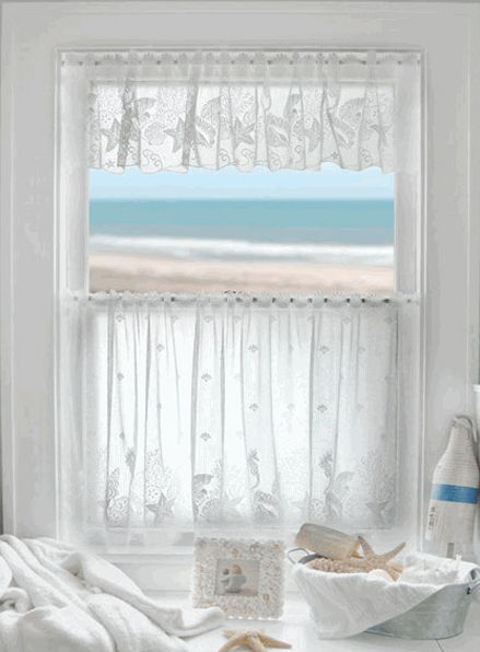 Coastal Lace Seahorse Curtains  Seahorse Starfish and Seashells Machine washable Tier and