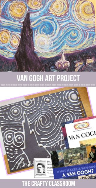 Van Gogh is a name every young child knows, and Starry Night is the title they remember! Uses this fun technique to create movement on your canvas! Materials:  Black Construction Paper White School Glue Oil Pastels VanGogh Artist Card Suggest Resources for a Unit Study:                   Art Project Tutorial: