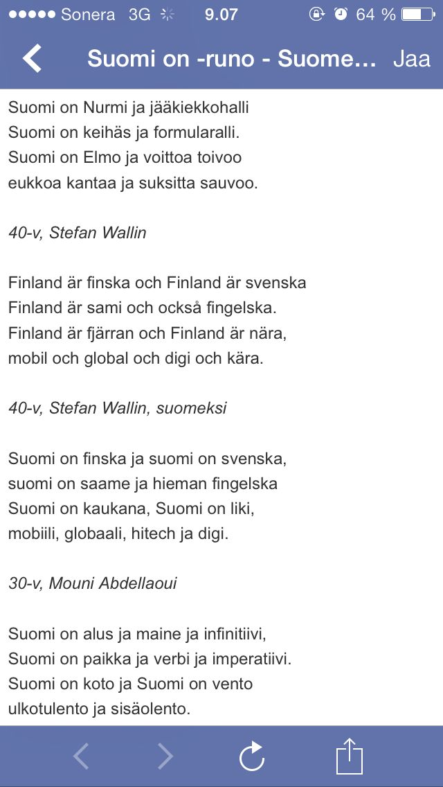 Suomi on...