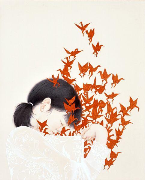 Kaori Watanabe - Hirake Kokoro (Open Mind). Japanese mineral pigment on silk, 65.2x53.0cm (2007)  [found at 2headedsnake]