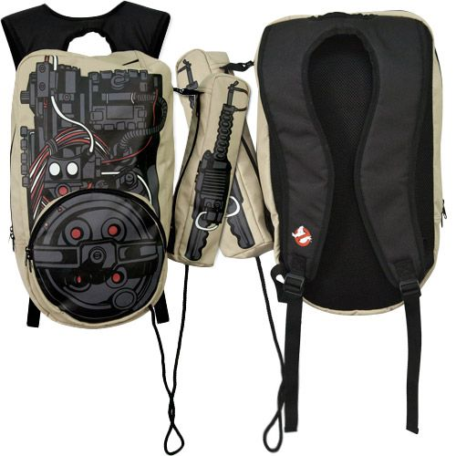 Ghostbusters Proton Pack Backpack.  This officially licensed backpack is based on the Proton Pack worn by the Ghostbusters. The backpack measures 21 inches x 14 inches and will fit most adults. The straps are adjustable to a smaller size for children. Sold at 80sTees.