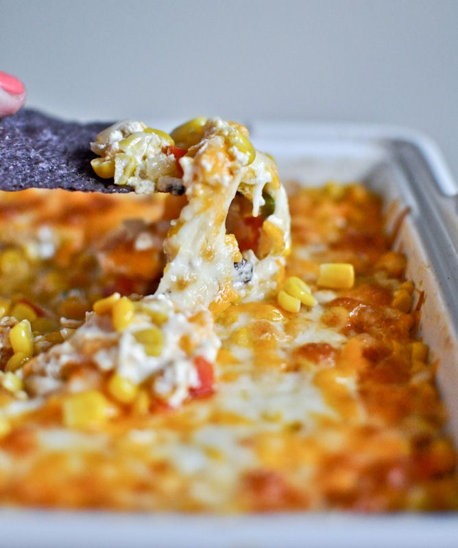 Hot + Cheesy Caramelized Corn Dip
