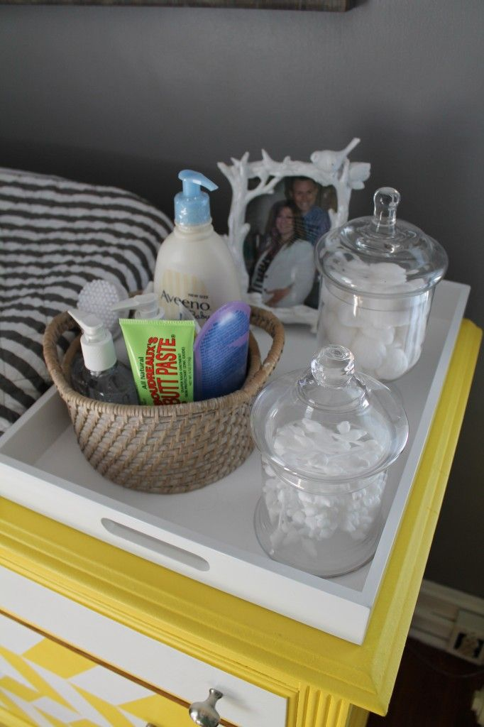 Food tray to organize changing table items :) love this especially if you repurpose a dresser into a changing table