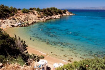 Pefkos on the island of Rhodes in Greece, local beach