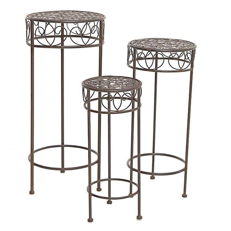 S/3 METAL FLOWER STAND IN RUSTY BROWN COLOR 32Χ32Χ72 - Flower Stands - FURNITURE