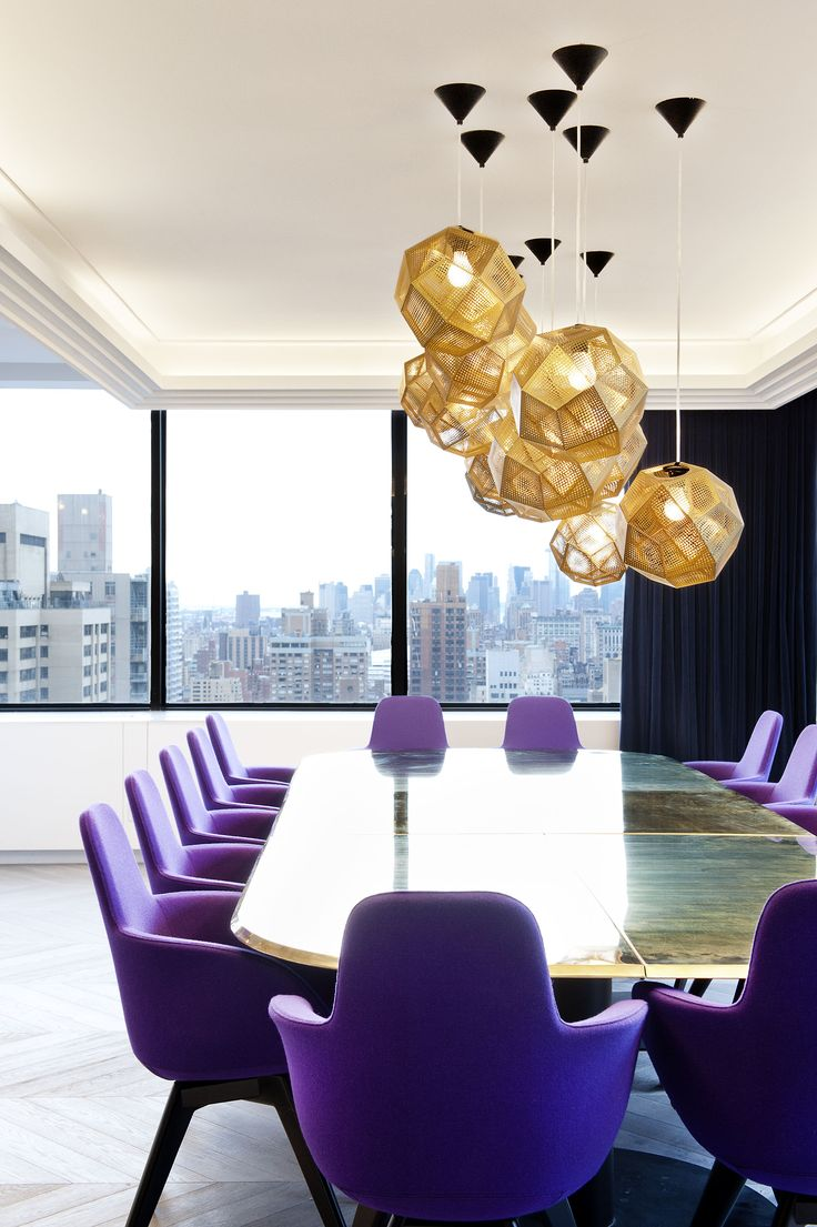 Would love this to be dining room- reclaimed wood table, purple chairs (no arms, though.)