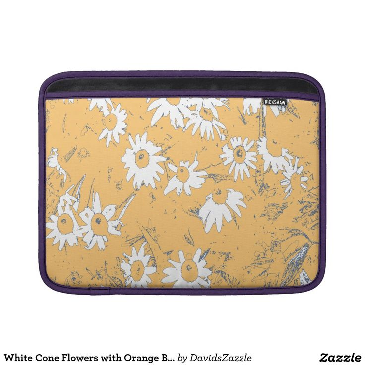White Cone Flowers with Orange Background Laptop Sleeve Available on more products, type in the name of this design in the search bar on my products page to view them all!  #daisy #shasta #cone #calendula #floral #flower #orange #blue #gray #grey #blue #pattern #print #all #over #abstract #plant #nature #earth #life #style #lifestyle #chic #modern #contemporary #phone #tablet #case #sleeve #laptop #computer #electronic #accessory #wallet #folio #folding #gear #iphone #apple #macbook