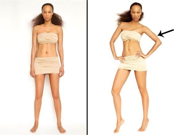 I trucchi di Tyra Banks per celare i difetti di fronte a una macchina fotografica.    Mani sui fianchi = Vita più sottile. Mettendo le mani sui fianchi si crea uno spazio tra le braccia, che farà sembrare la vita più piccola. Questo potete utilizzarlo anche nella vita di tutti i giorni.