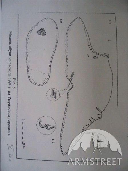 Viking footwear known as Osebergskängan, in Oseberg ship find.  Source location: Oseberg, Norway Dating from : 800 - 850 CE Collection information:  Universitetets Oldsaksamling, Oslo, Oseberg