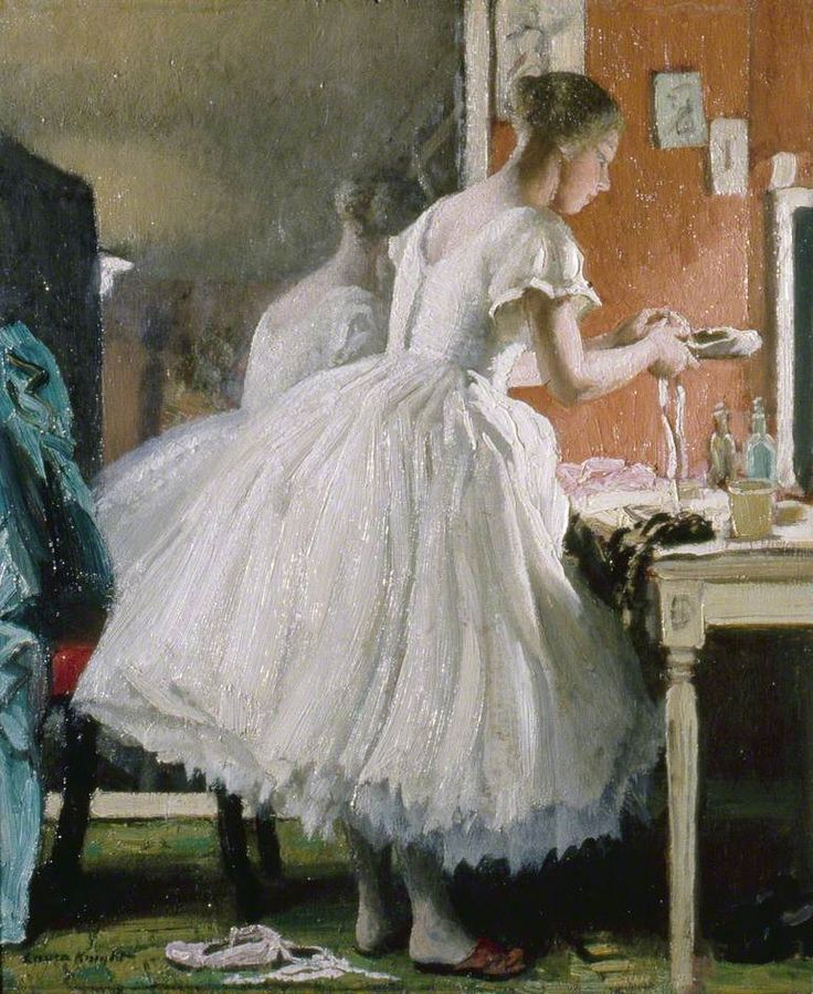 """.:. The Ballet Shoe (c.1932).Laura Knight (English, 1877-1970).Oil on board.Brighton and Hove Museums and Art Galleries. """"From 1919 [Knight] obtained permission to work backstage at Diaghilev's Ballets Russes, gaining intimate access to the dressing-rooms of prima ballerinas Lopokova and Pavlova, and catching the stars off guard and en déshabille… Lopokova was flying as if on wires in 'Les Sylphides' (c.1920) and returning to earth to adjust 'The Ballet Shoe' (c.1932)."""" — The ..."""