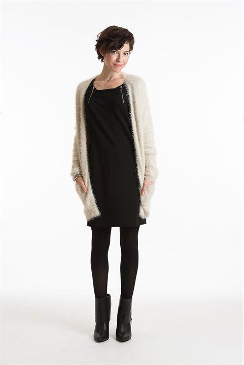 Zwart jurkje - furry vest. Miss Etam