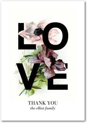 Gorgeous Love - Signature White Thank You Cards - Baumbirdy - Black   www.WeddingPaperDivas.com