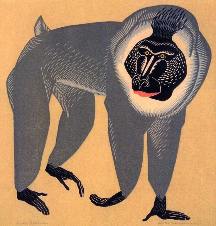 Belle Baranceanu (American, 1902-1988), Drill Baboon, between 1930-1960. linocut
