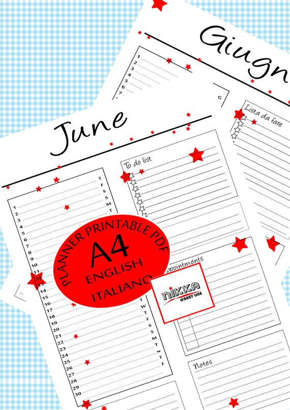CALENDARIO 2017 mese GIUGNO planner stampabile  A4  pdf - JUNE monthly PRINTABLE calendar 2017 PLANNER - A4 - pdf - instant download - English and Italian version - red stars