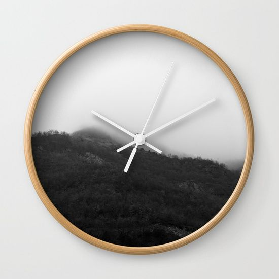 """Foggy Mountains Wall Clock by ARTbyJWP via Society6 #clocks #wallclock #walldeco #homedecor #homeoffice #shop #shopping - Available in natural wood, black or white frames, our 10"""" diameter unique Wall Clocks feature a high-impact plexiglass crystal face and a backside hook for easy hanging. Choose black or white hands to match your wall clock frame and art design choice. Clock sits 1.75"""" deep and requires 1 AA battery (not included)."""