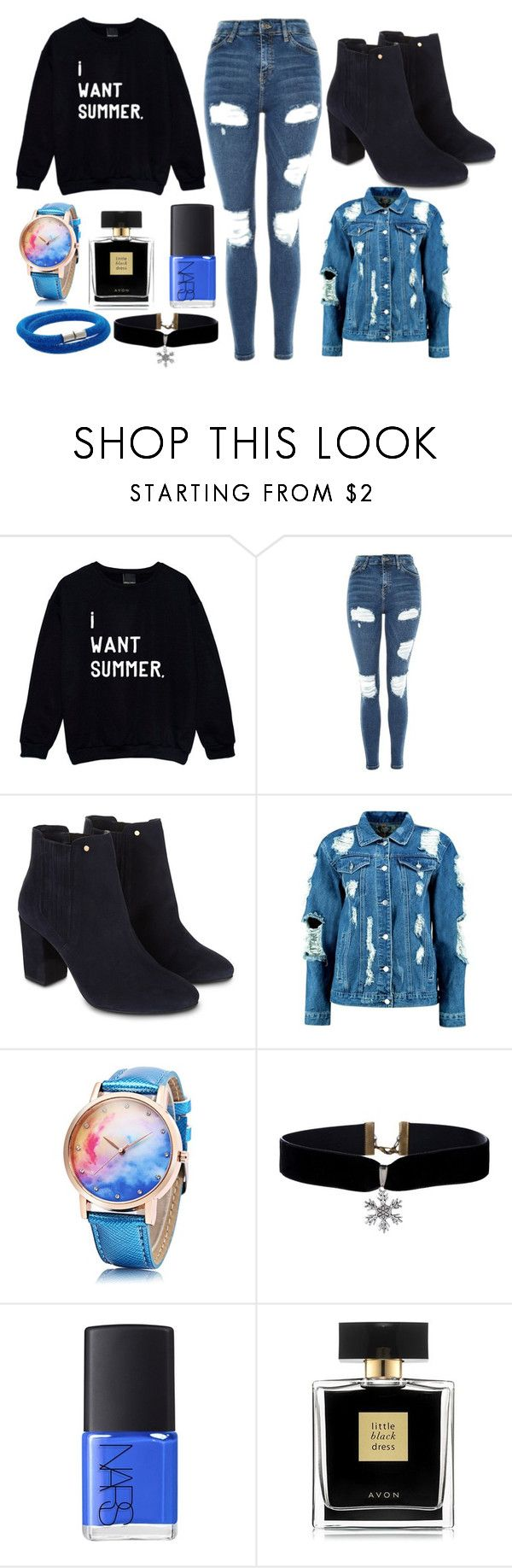 """""""Black and blue"""" by thisisalle on Polyvore featuring Topshop, Monsoon, Boohoo, NARS Cosmetics, Avon and Swarovski"""