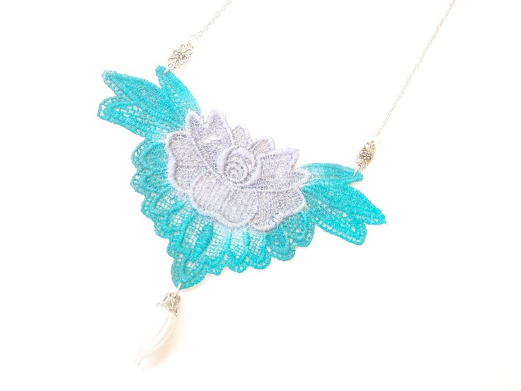 Lace Necklace Hand Painted by White Bear