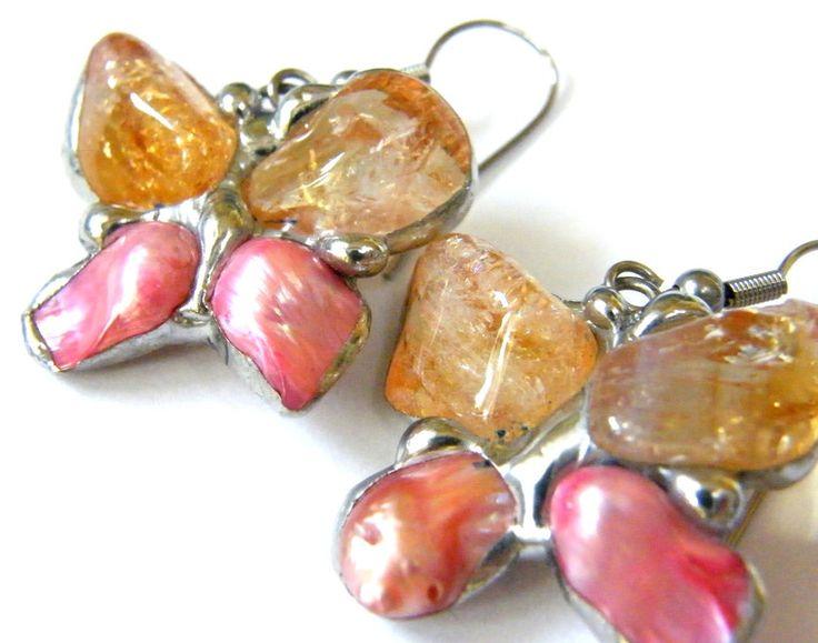 Earrings – Earrings: Lemon-pink butterflies – a unique product by Patrycja-Baran on DaWanda