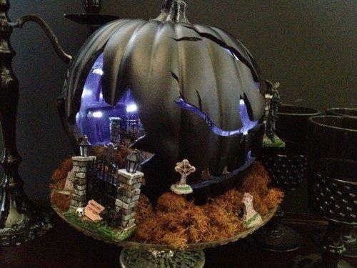 cemetery haunted house pumpkin diorama foam pumpkin carving using walnut hollow professional hot knife