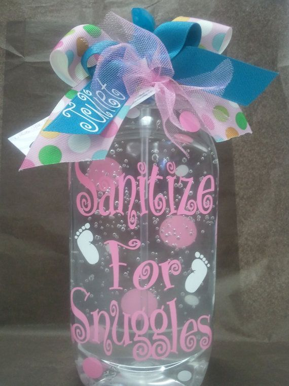 Personalized Hand sanitizer  - great gift to take to the hospital  #DIY #Baby #Shower #Gifts