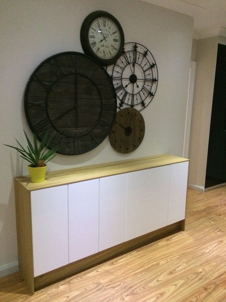 Objective: Looking for a slim buffet/sideboard on a budget I did some research and measurements. I wanted to have a unit that is slim and to be 180cm in length. I purchased the following: 3x FAKTUM (60w X 70h cm) $30.00 each=$90 6x ABSTRAKT (30w x 70h cm) Door high-gloss white $20 each=$120 2x PERFEKT NORJE cover [&hellip