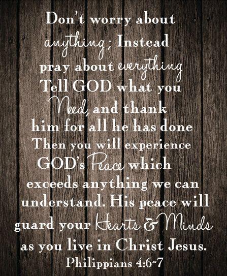 Philippians 4:6-7 Canvas art Rustic Design