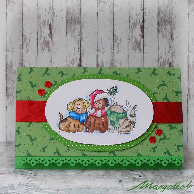 Dárková+obálka+na+peníze+-+pejsci+a+kočička+Dárková+obálka+na+peníze+nebo+poukázky+s+vánočním+motivem.