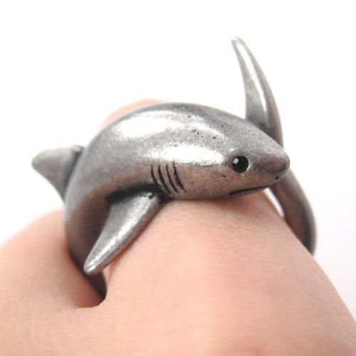 3D Shark Sea Animal Hug Wrap Ring in Silver - Sizes 5 to 10 | dotoly - Jewelry on ArtFire