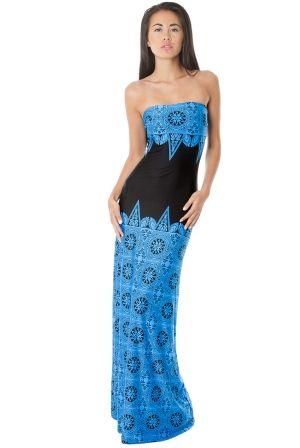 Rochie lunga de seara, albastru cu negru - Rochie de seara lunga, din jerse fin, cu un imprimeu romantic, albastru cu negru. Este o rochia eleganta, cu croiala foarte simpla, pe care insa o scoate in evidenta imprimeul deosebit. Colectia Rochii de seara lungi de la  www.rochii-ieftine.net