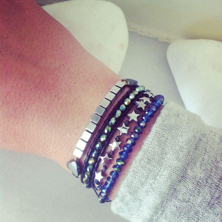 Handmade bracelets!! Hematite & crystal