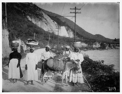 1910 - Fort de France, Martinique. Gruppe einheimischer farbiger Frauen mit Packesel und Warenkörben auf ihren Köpfen auf dem Weg entlang der Küste zum Markt. Fotograf : Lübeck, Oswald