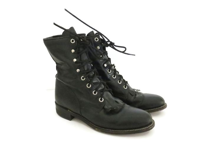 Justin Roper Boots Size 6.5 Black Leather Lace Up Western Work Cowboy  Cowgirl Combat Shoes Kiltie Fringe Womens 6 1/2