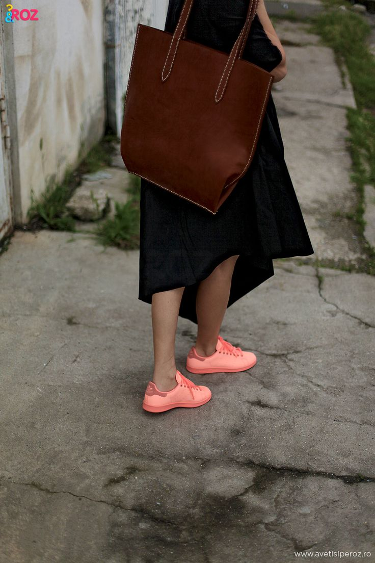 COS dress, leather tote and Stan Smith