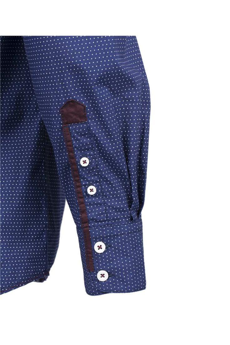 GUIDE LONDON - LS72605 - NAVY - Long Sleeve Mini-Dot Shirt