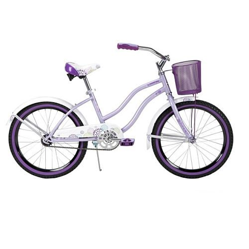 "Great for riding around the neighborhood or into town, the Huffy Summerland Cruiser Girls' 20"" Bike features a classic cruiser frame made of durable steel and front and back tire fenders."