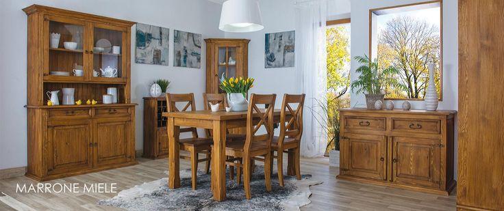 Jadalnia w inspirowana stylem rustykalnym. Drewniane komody i witryny powstały w litej sośnie. #rustykalny #litedrewno #aranżacje #dekoracje