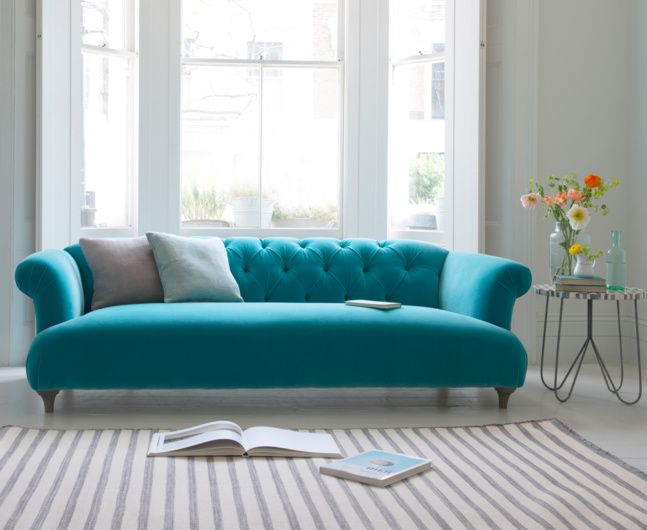 Loaf's Chesterfield style Dixie sofa with deep buttons in aqua blue velvet